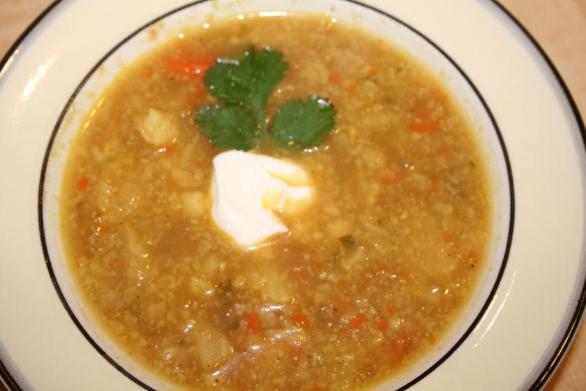 spicy cauliflower soup bowl