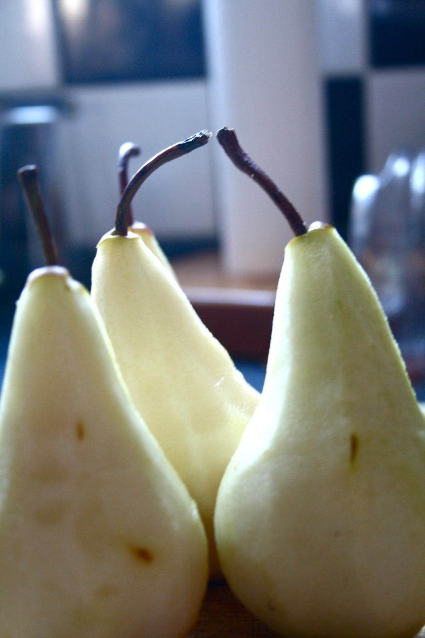 stealing a quick pear kiss before imminent death