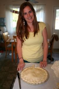 her first pie!